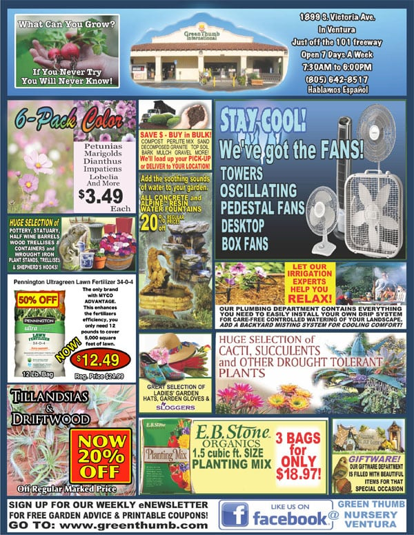 8-30-18 Ad for Ventura - Green Thumb Nursery