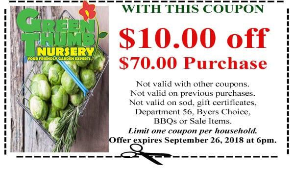 Green Thumb Coupon 9 20 18 Green Thumb Nursery