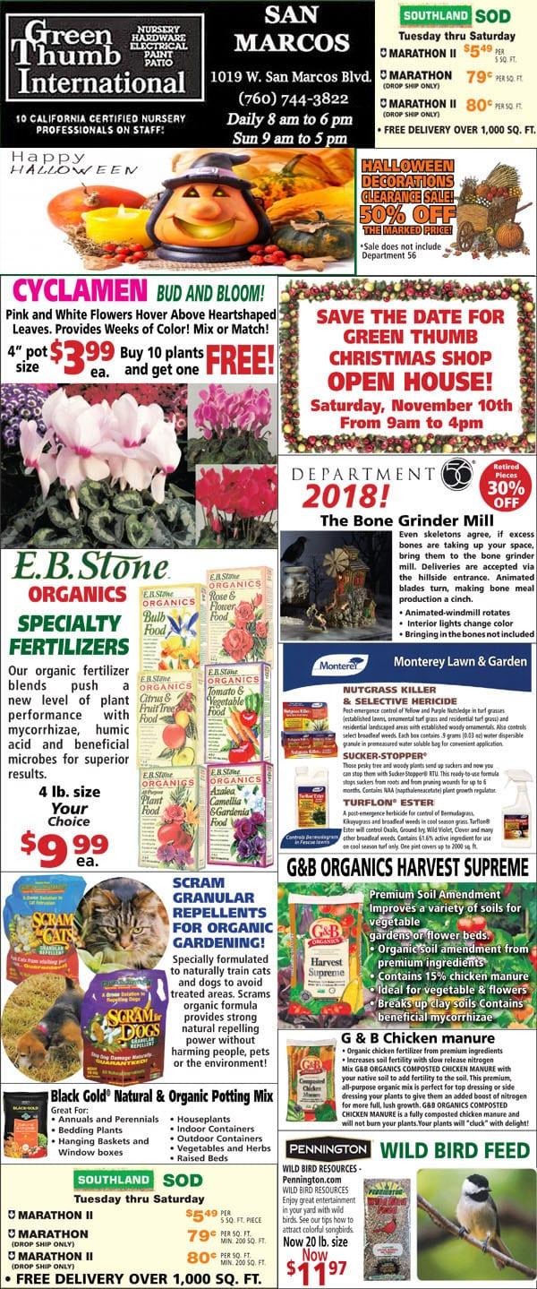 10-25-18 Ad for San Marcos - Green Thumb Nursery