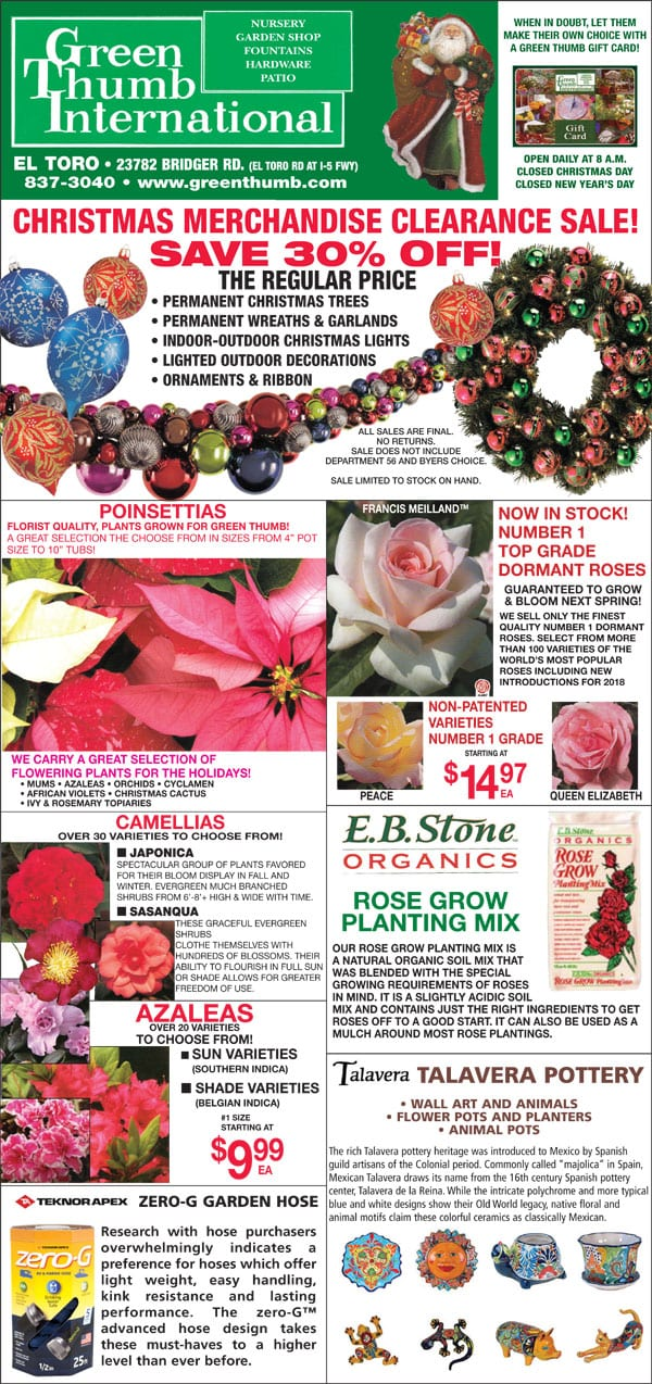 12 13 18 Ad For El Toro Lake Forest Green Thumb Nursery